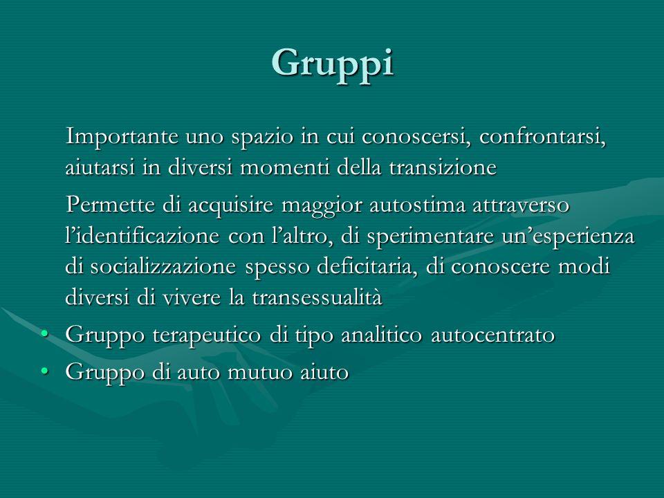 Gruppi Importante uno spazio in cui conoscersi, confrontarsi, aiutarsi in diversi momenti della transizione Importante uno spazio in cui conoscersi, c