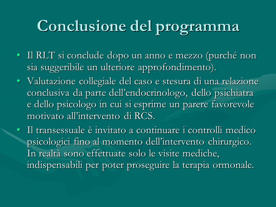 Conclusione del programma Il RLT si conclude dopo un anno e mezzo (purché non sia suggeribile un ulteriore approfondimento).Il RLT si conclude dopo un