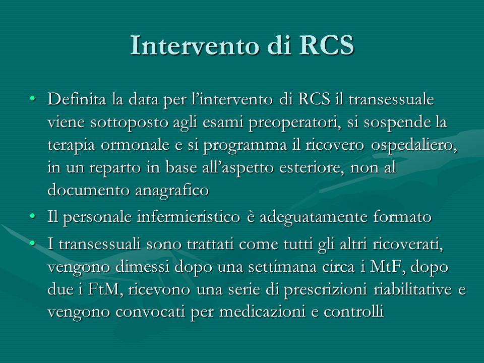 Intervento di RCS Definita la data per lintervento di RCS il transessuale viene sottoposto agli esami preoperatori, si sospende la terapia ormonale e