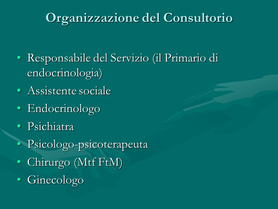 Organizzazione del Consultorio Responsabile del Servizio (il Primario di endocrinologia)Responsabile del Servizio (il Primario di endocrinologia) Assi