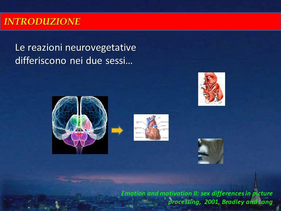 INTRODUZIONE Le reazioni neurovegetative differiscono nei due sessi… Emotion and motivation II: sex differences in picture processing, 2001, Bradley a