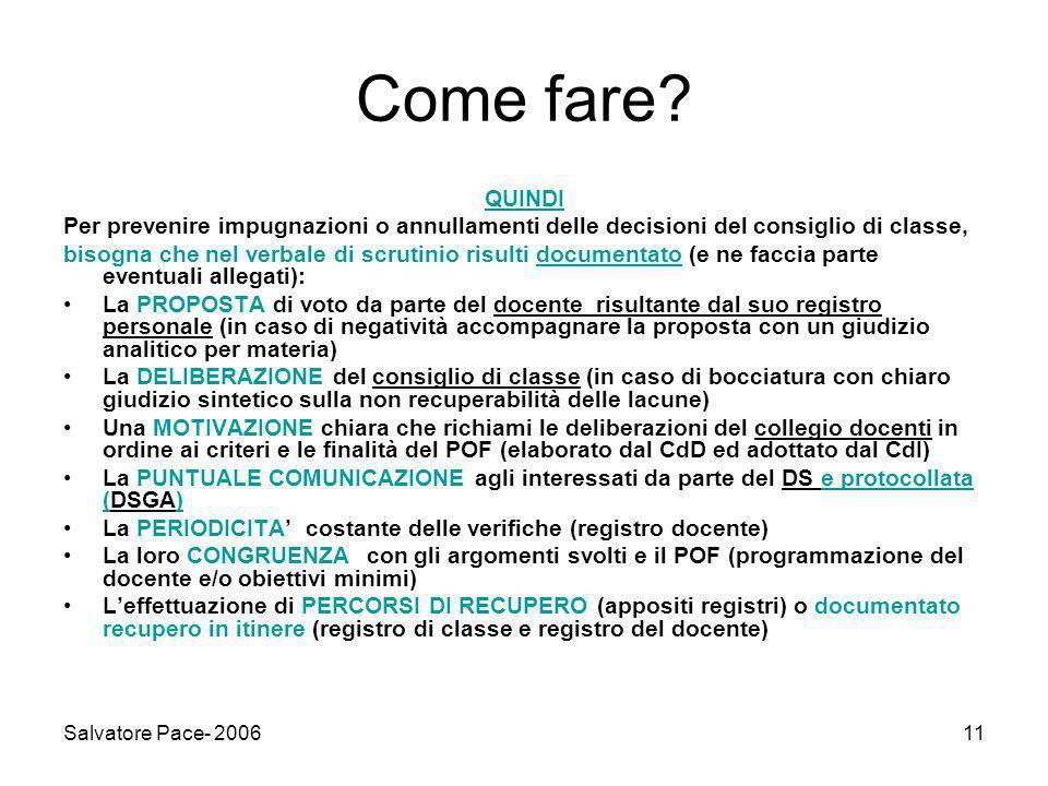 Salvatore Pace- 200611 Come fare.