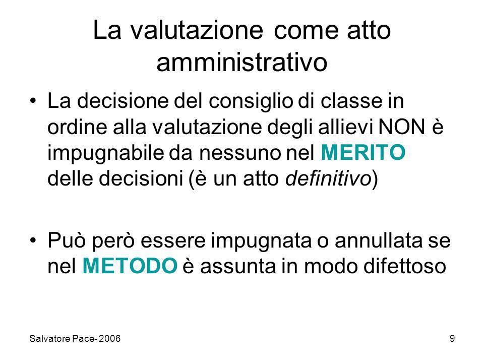 Salvatore Pace- 200610 Si può impugnare la valutazione.