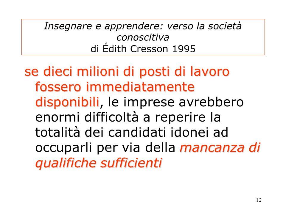 12 Insegnare e apprendere: verso la società conoscitiva di Édith Cresson 1995 se dieci milioni di posti di lavoro fossero immediatamente disponibili m
