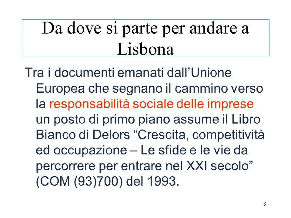 3 Da dove si parte per andare a Lisbona Tra i documenti emanati dallUnione Europea che segnano il cammino verso la responsabilità sociale delle impres