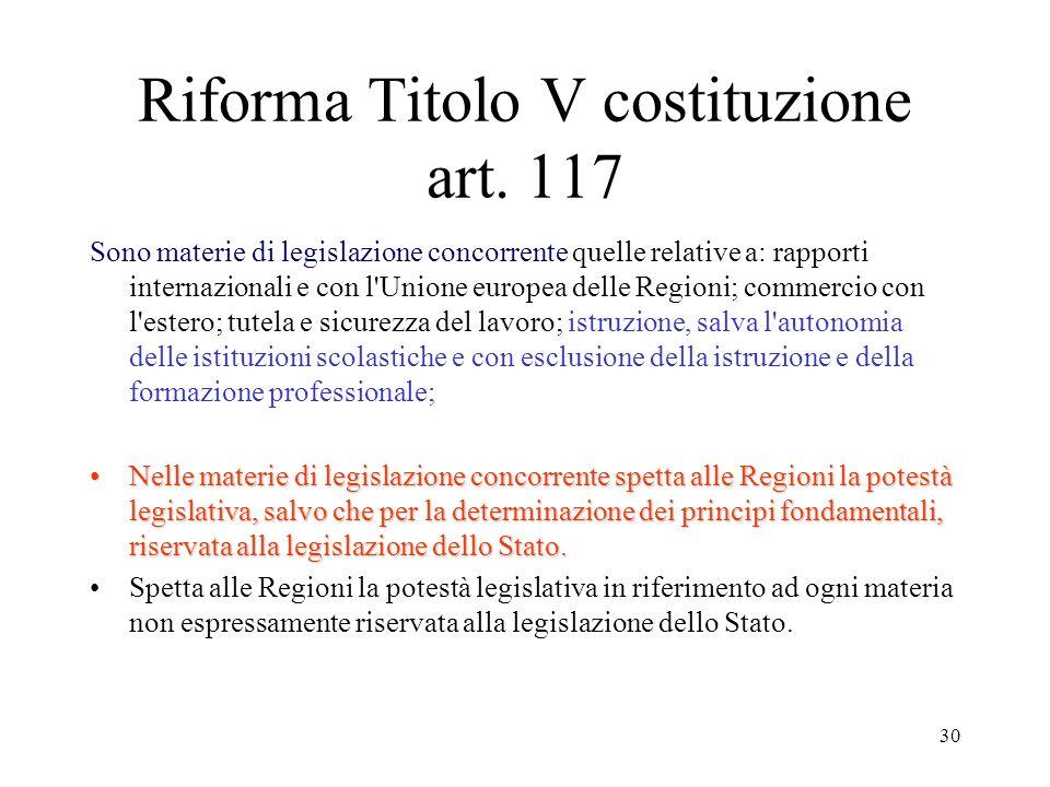 30 Riforma Titolo V costituzione art. 117 Sono materie di legislazione concorrente quelle relative a: rapporti internazionali e con l'Unione europea d