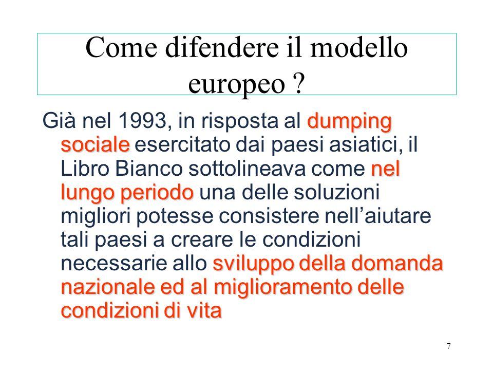 7 Come difendere il modello europeo ? dumping sociale nel lungo periodo sviluppo della domanda nazionale ed al miglioramento delle condizioni di vita