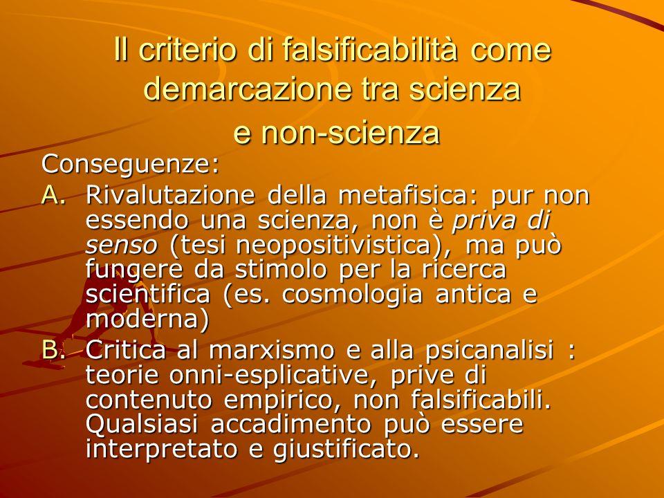 Il criterio di falsificabilità come demarcazione tra scienza e non-scienza Il criterio di falsificabilità come demarcazione tra scienza e non-scienza