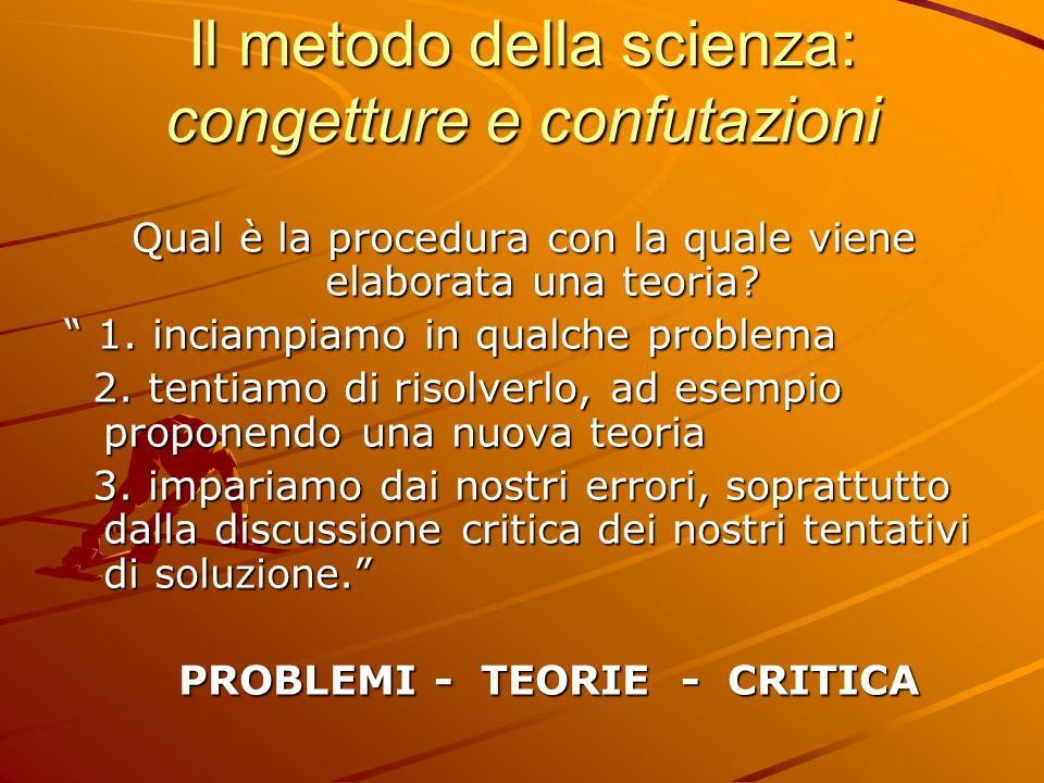 Il metodo della scienza: congetture e confutazioni Qual è la procedura con la quale viene elaborata una teoria? 1. inciampiamo in qualche problema 1.