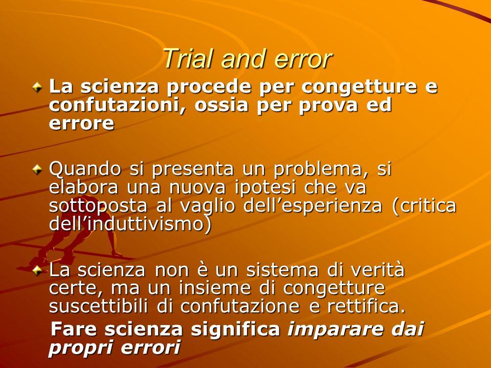 Trial and error La scienza procede per congetture e confutazioni, ossia per prova ed errore Quando si presenta un problema, si elabora una nuova ipote