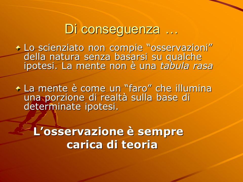 Di conseguenza … Lo scienziato non compie osservazioni della natura senza basarsi su qualche ipotesi. La mente non è una tabula rasa La mente è come u