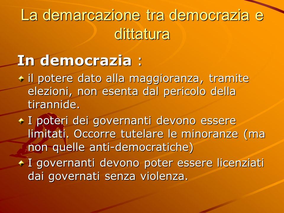 La demarcazione tra democrazia e dittatura In democrazia : il potere dato alla maggioranza, tramite elezioni, non esenta dal pericolo della tirannide.