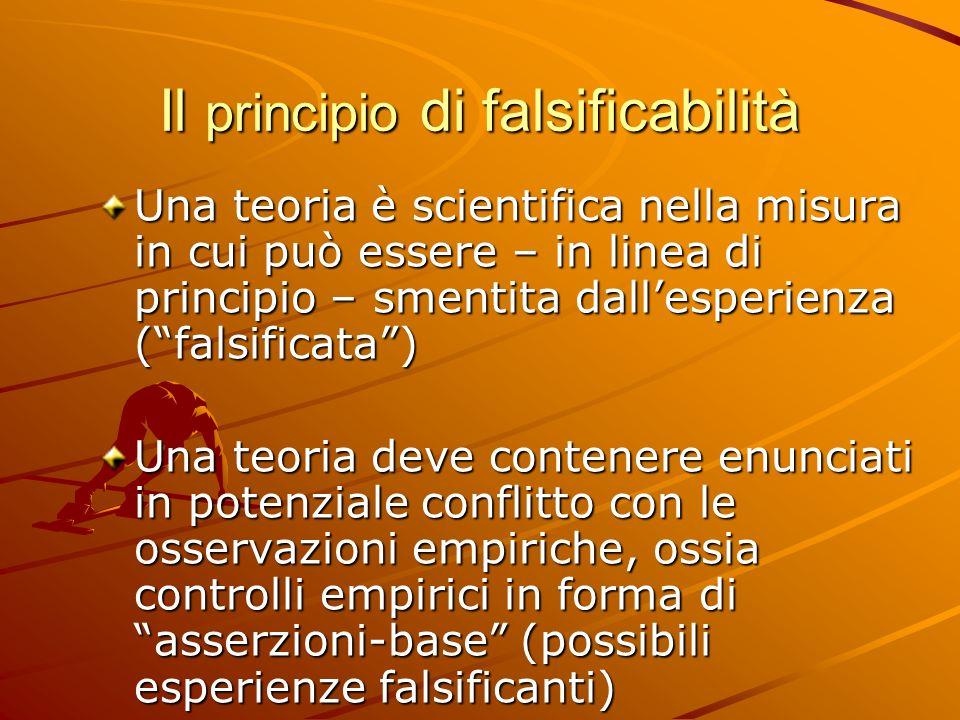 Il principio di falsificabilità Una teoria è scientifica nella misura in cui può essere – in linea di principio – smentita dallesperienza (falsificata