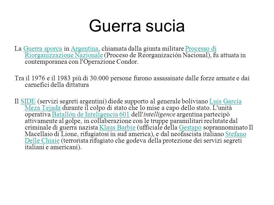 Guerra sucia La Guerra sporca in Argentina, chiamata dalla giunta militare Processo di Riorganizzazione Nazionale (Proceso de Reorganización Nacional)