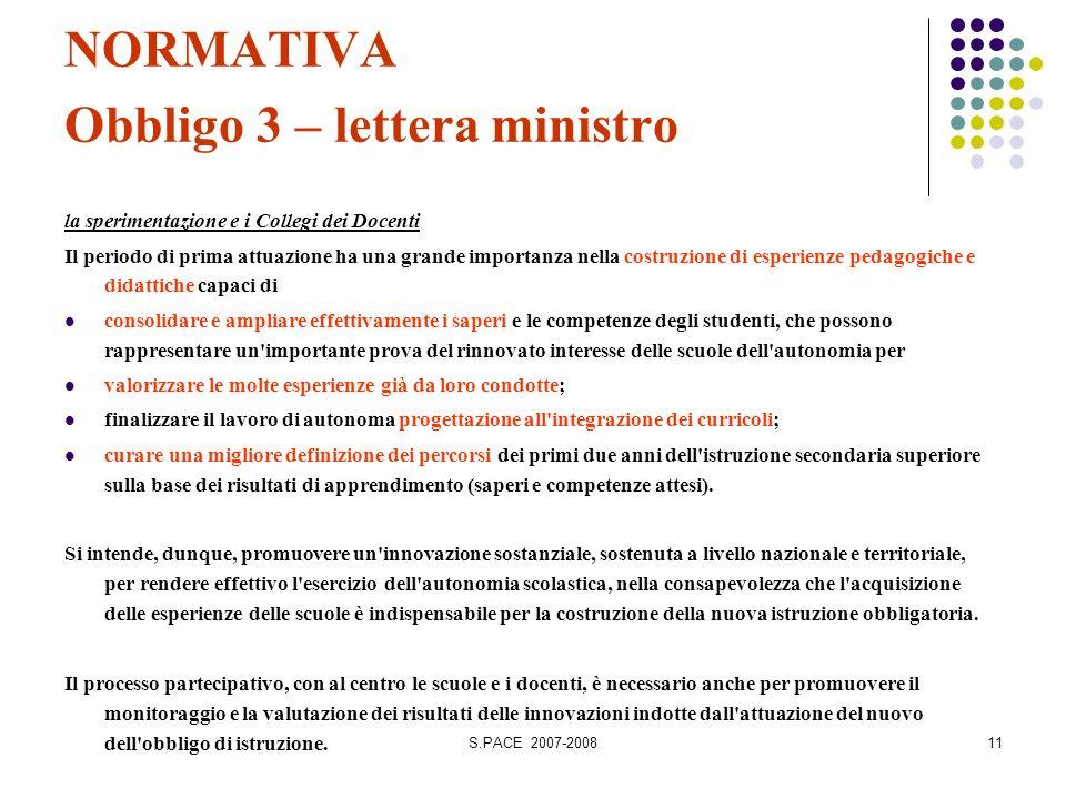 S.PACE 2007-200811 NORMATIVA Obbligo 3 – lettera ministro la sperimentazione e i Collegi dei Docenti Il periodo di prima attuazione ha una grande impo