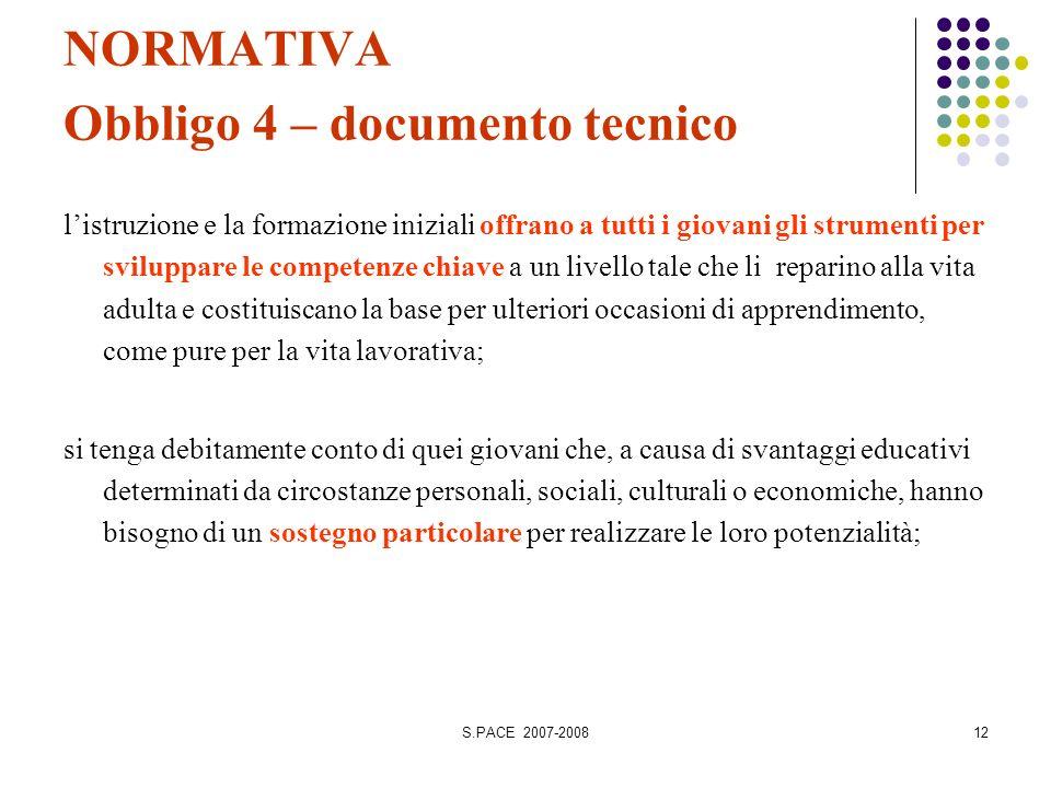 S.PACE 2007-200812 NORMATIVA Obbligo 4 – documento tecnico listruzione e la formazione iniziali offrano a tutti i giovani gli strumenti per sviluppare