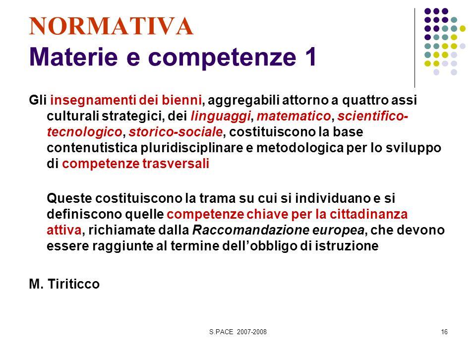 S.PACE 2007-200816 NORMATIVA Materie e competenze 1 Gli insegnamenti dei bienni, aggregabili attorno a quattro assi culturali strategici, dei linguagg