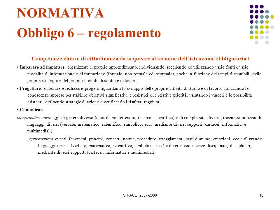S.PACE 2007-200818 NORMATIVA Obbligo 6 – regolamento Competenze chiave di cittadinanza da acquisire al termine dellistruzione obbligatoria 1 Imparare
