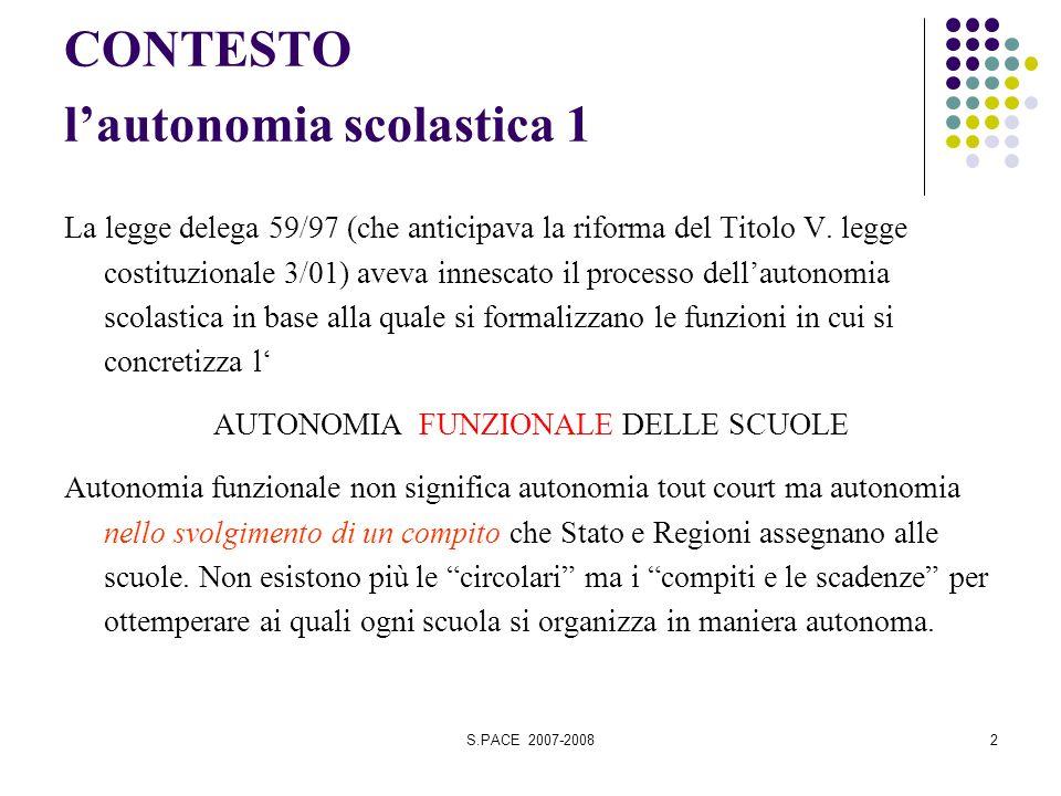 S.PACE 2007-20082 CONTESTO lautonomia scolastica 1 La legge delega 59/97 (che anticipava la riforma del Titolo V.
