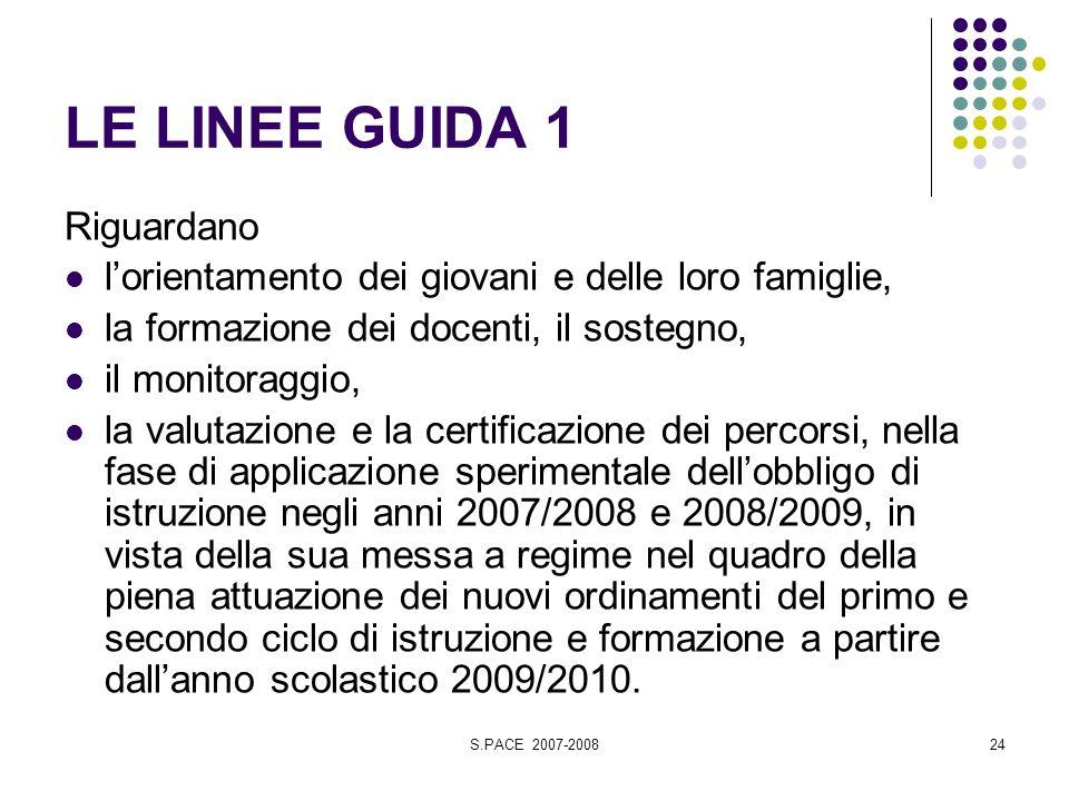 S.PACE 2007-200824 LE LINEE GUIDA 1 Riguardano lorientamento dei giovani e delle loro famiglie, la formazione dei docenti, il sostegno, il monitoraggi