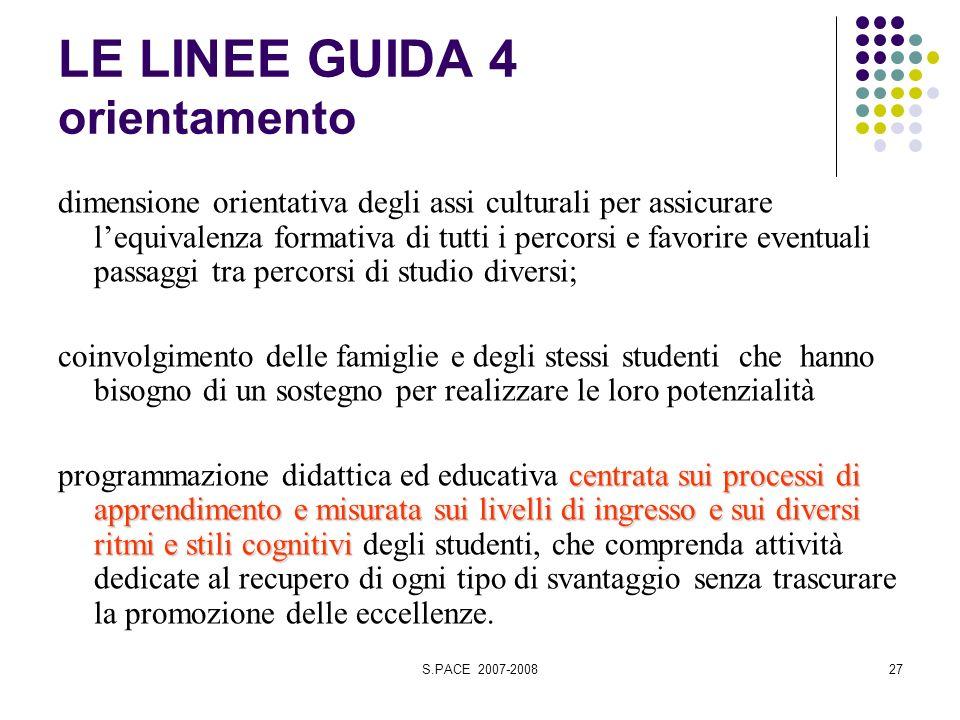 S.PACE 2007-200827 LE LINEE GUIDA 4 orientamento dimensione orientativa degli assi culturali per assicurare lequivalenza formativa di tutti i percorsi