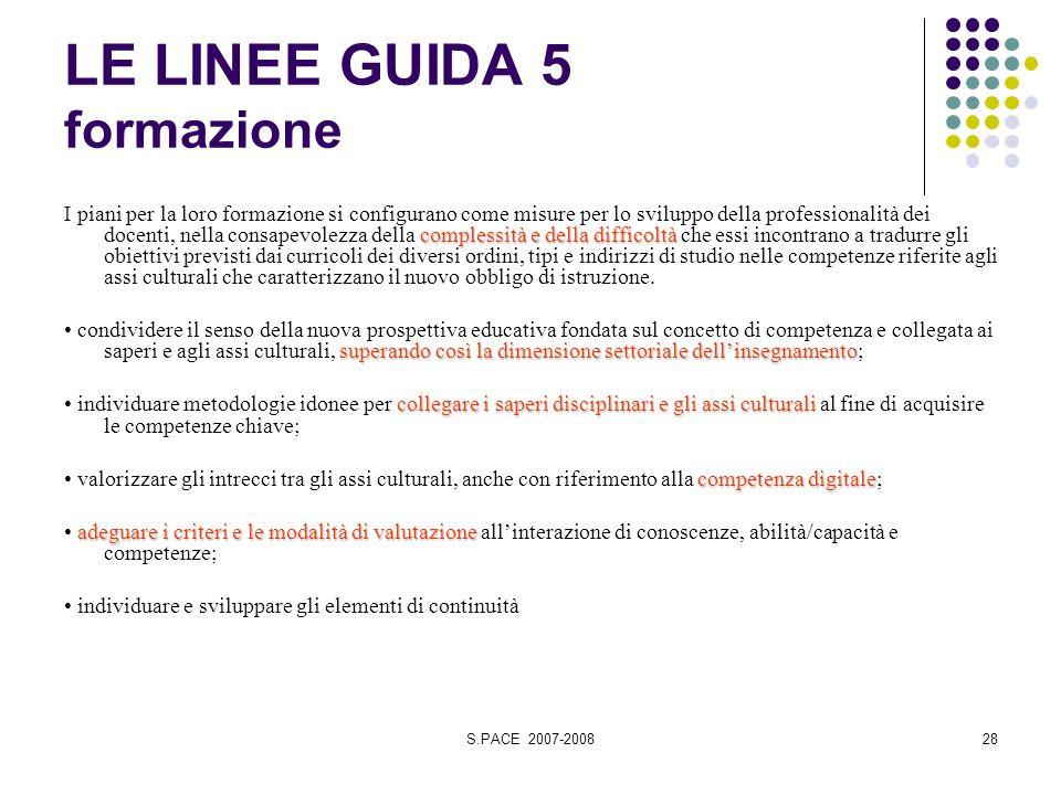 S.PACE 2007-200828 LE LINEE GUIDA 5 formazione complessità e della difficoltà I piani per la loro formazione si configurano come misure per lo svilupp