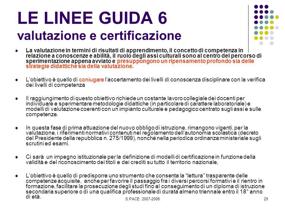 S.PACE 2007-200829 LE LINEE GUIDA 6 valutazione e certificazione La valutazione in termini di risultati di apprendimento, il concetto di competenza in
