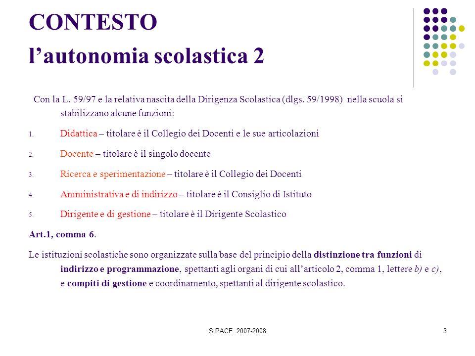 S.PACE 2007-20083 CONTESTO lautonomia scolastica 2 Con la L. 59/97 e la relativa nascita della Dirigenza Scolastica (dlgs. 59/1998) nella scuola si st