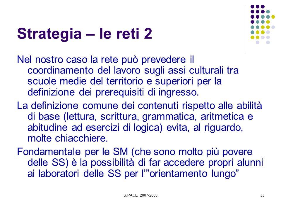 S.PACE 2007-200833 Strategia – le reti 2 Nel nostro caso la rete può prevedere il coordinamento del lavoro sugli assi culturali tra scuole medie del territorio e superiori per la definizione dei prerequisiti di ingresso.