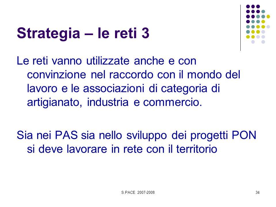 S.PACE 2007-200834 Strategia – le reti 3 Le reti vanno utilizzate anche e con convinzione nel raccordo con il mondo del lavoro e le associazioni di categoria di artigianato, industria e commercio.