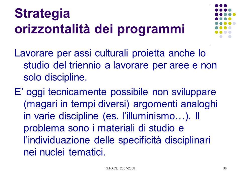 S.PACE 2007-200836 Strategia orizzontalità dei programmi Lavorare per assi culturali proietta anche lo studio del triennio a lavorare per aree e non solo discipline.