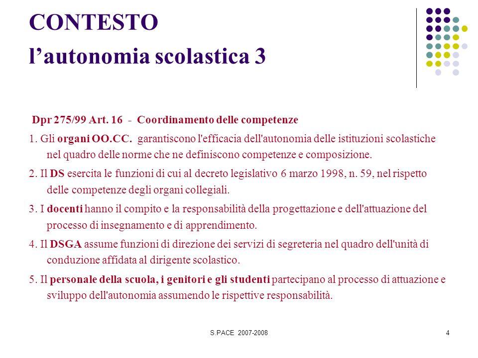 S.PACE 2007-20084 CONTESTO lautonomia scolastica 3 Dpr 275/99 Art. 16 - Coordinamento delle competenze 1. Gli organi OO.CC. garantiscono l'efficacia d