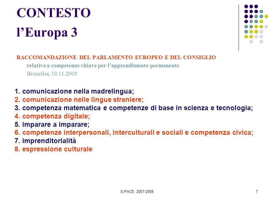 S.PACE 2007-20087 CONTESTO lEuropa 3 RACCOMANDAZIONE DEL PARLAMENTO EUROPEO E DEL CONSIGLIO relativa a competenze chiave per lapprendimento permanente