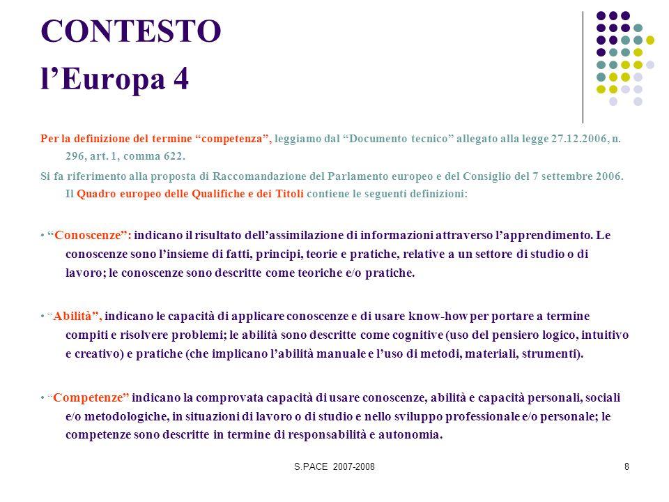 S.PACE 2007-20088 CONTESTO lEuropa 4 Per la definizione del termine competenza, leggiamo dal Documento tecnico allegato alla legge 27.12.2006, n.
