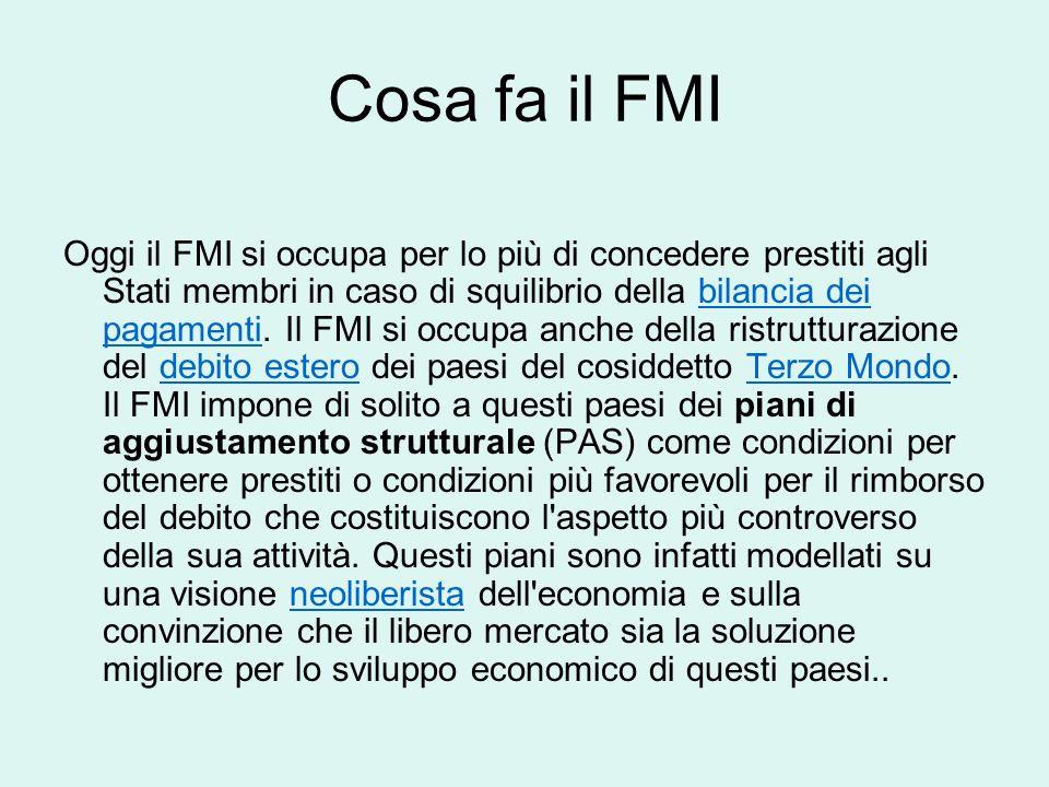 Come funziona il FMI Dei membri del Consiglio Esecutivo 5 sono permanenti e appartengono ai 5 Stati che detengono la quota maggiore (Stati Uniti, Giap