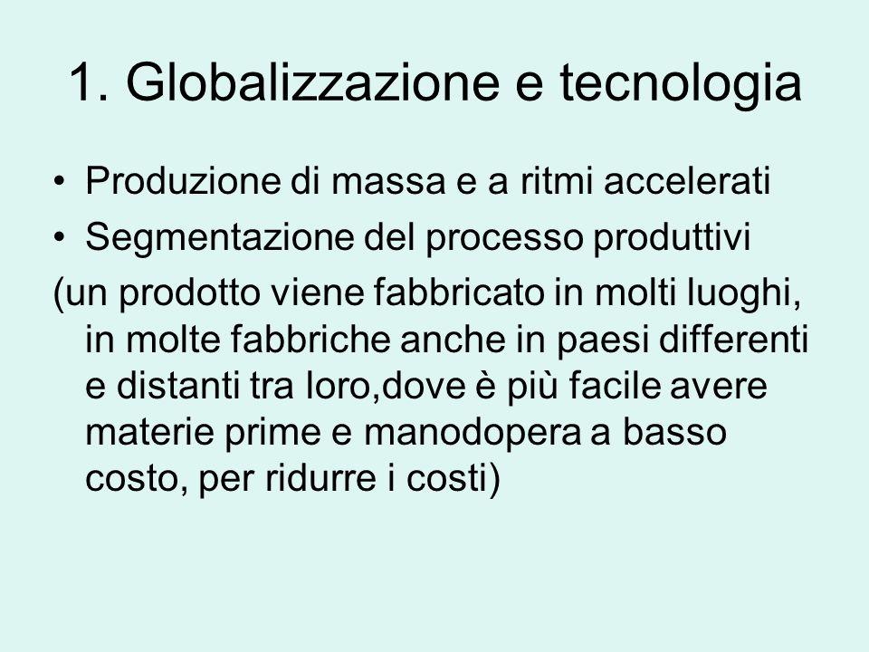 Condizioni per la globalizzazione 1.Sviluppo della tecnologia moderna 2.Globalizzazione finanziaria 3.Mercato mondiale