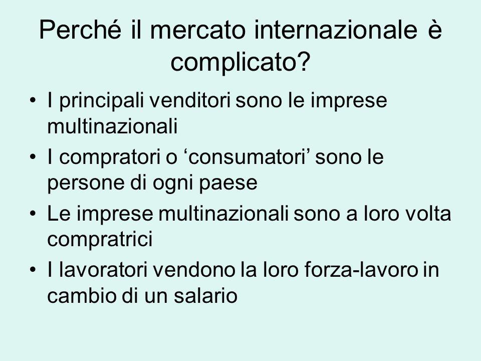 Che si intende per MERCATO INTERNAZIONALE Interscambio commerciale che esiste tra differenti compratori e venditori oltre le frontiere dei singoli Sta