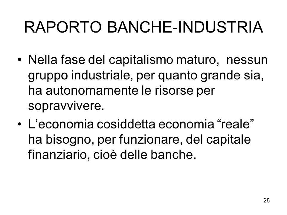 25 RAPORTO BANCHE-INDUSTRIA Nella fase del capitalismo maturo, nessun gruppo industriale, per quanto grande sia, ha autonomamente le risorse per sopravvivere.