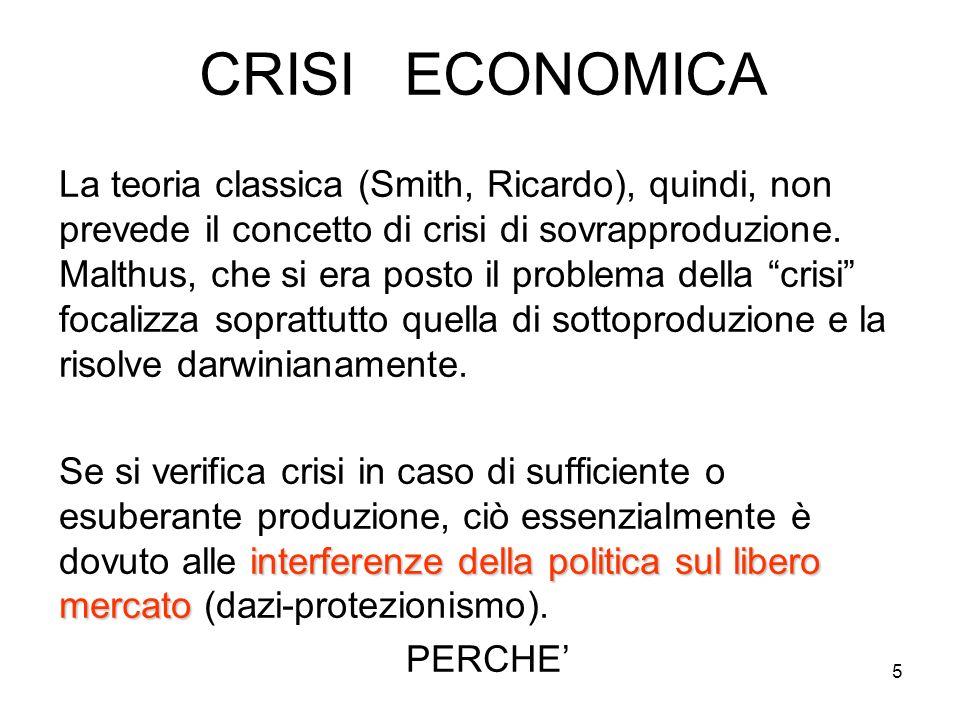 5 CRISI ECONOMICA La teoria classica (Smith, Ricardo), quindi, non prevede il concetto di crisi di sovrapproduzione.