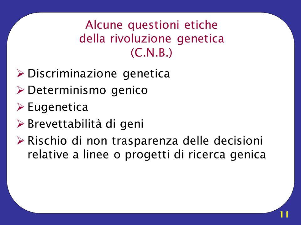11 Alcune questioni etiche della rivoluzione genetica (C.N.B.) Discriminazione genetica Determinismo genico Eugenetica Brevettabilità di geni Rischio