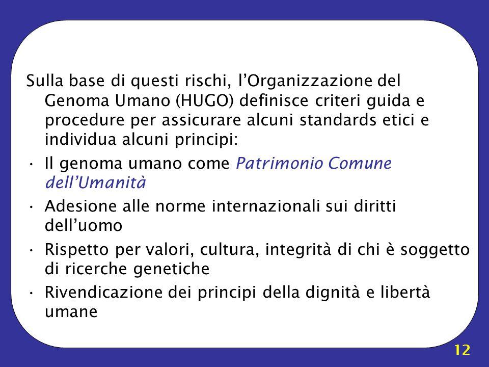 12 Sulla base di questi rischi, lOrganizzazione del Genoma Umano (HUGO) definisce criteri guida e procedure per assicurare alcuni standards etici e in