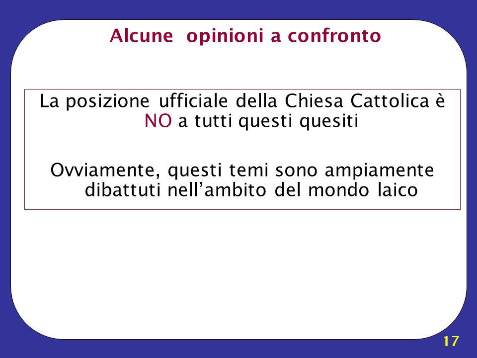 17 Alcune opinioni a confronto La posizione ufficiale della Chiesa Cattolica è NO a tutti questi quesiti Ovviamente, questi temi sono ampiamente dibat