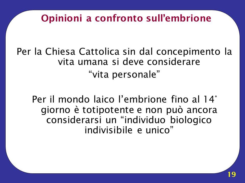 19 Opinioni a confronto sullembrione Per la Chiesa Cattolica sin dal concepimento la vita umana si deve considerare vita personale Per il mondo laico