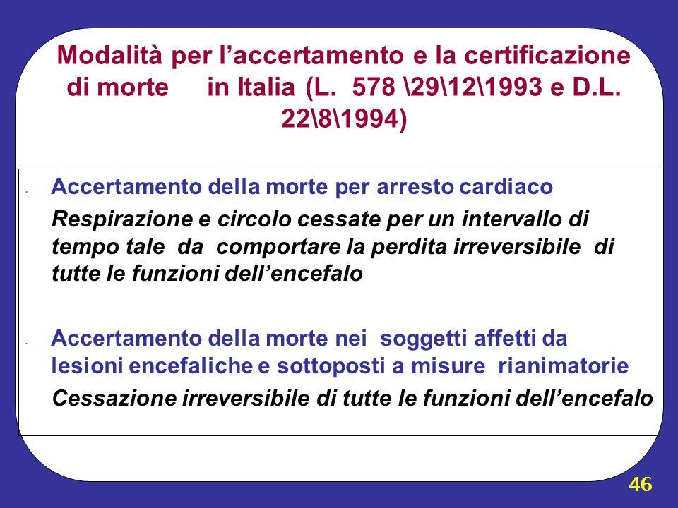 46 Modalità per laccertamento e la certificazione di morte in Italia (L. 578 \29\12\1993 e D.L. 22\8\1994) Accertamento della morte per arresto cardia