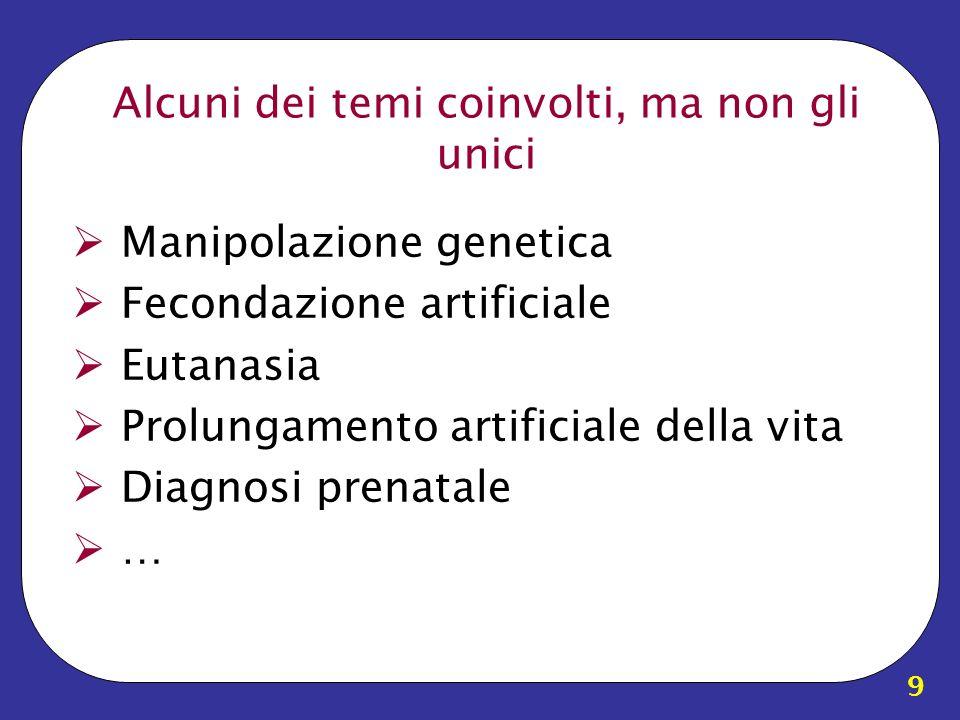 9 Alcuni dei temi coinvolti, ma non gli unici Manipolazione genetica Fecondazione artificiale Eutanasia Prolungamento artificiale della vita Diagnosi