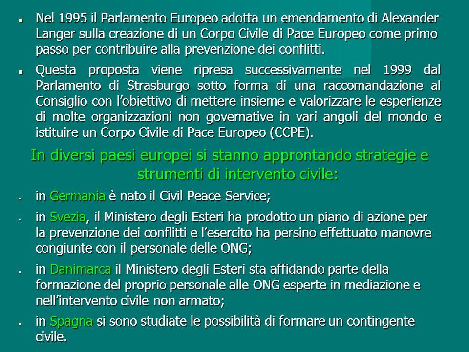 Nel 1995 il Parlamento Europeo adotta un emendamento di Alexander Langer sulla creazione di un Corpo Civile di Pace Europeo come primo passo per contribuire alla prevenzione dei conflitti.
