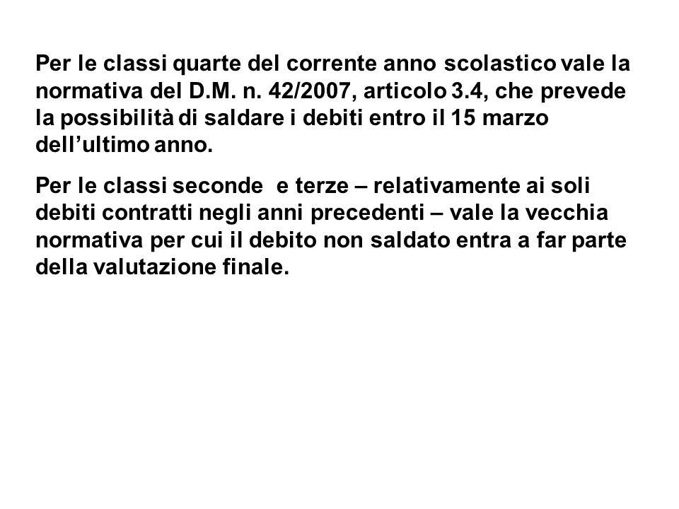 Credito scolastico candidati interni classi quinte Il D.M.