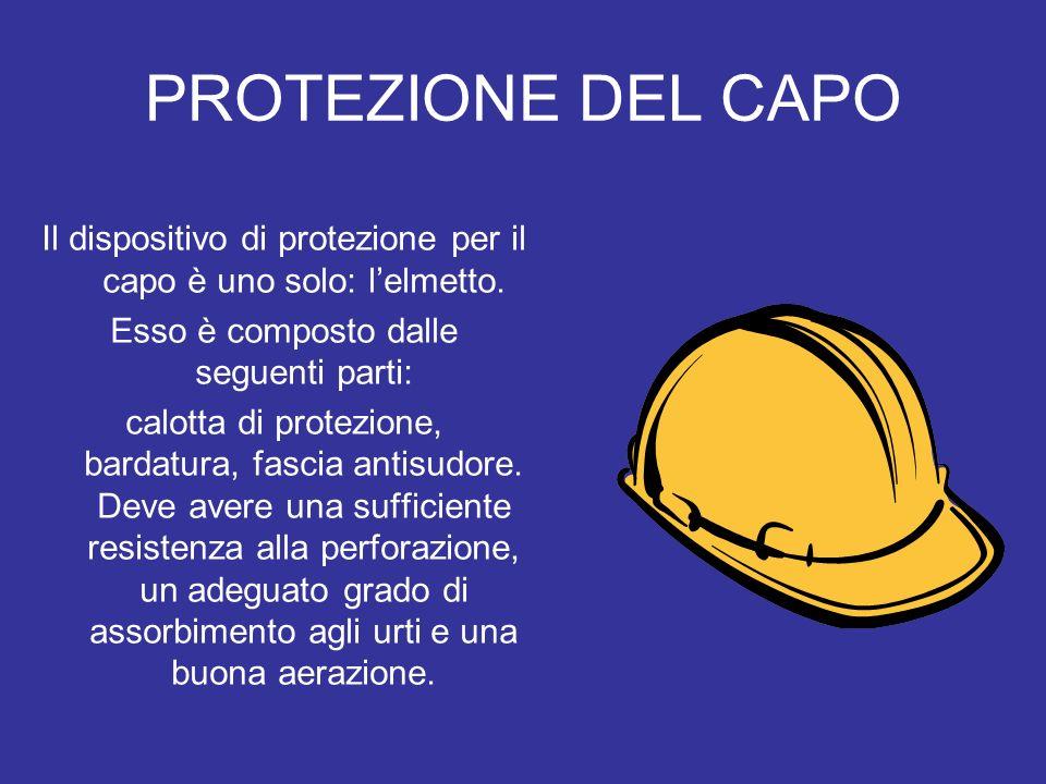 PROTEZIONE DEL CAPO Il dispositivo di protezione per il capo è uno solo: lelmetto. Esso è composto dalle seguenti parti: calotta di protezione, bardat