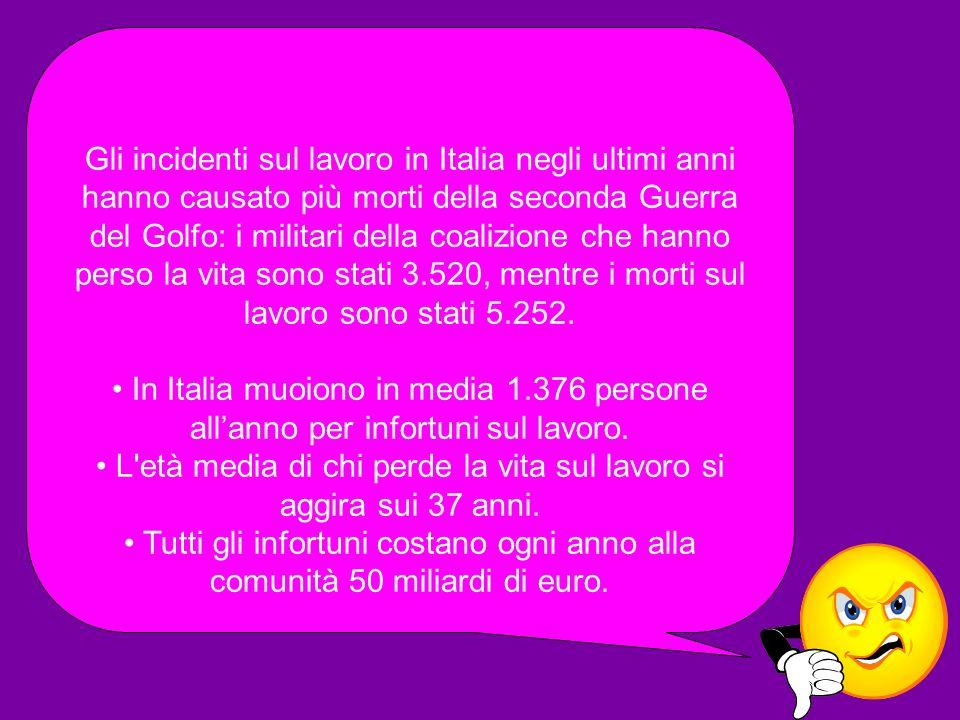 Gli incidenti sul lavoro in Italia negli ultimi anni hanno causato più morti della seconda Guerra del Golfo: i militari della coalizione che hanno per