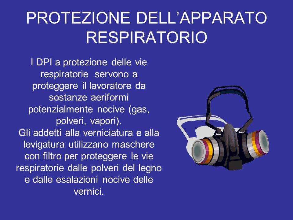 PROTEZIONE DELLAPPARATO RESPIRATORIO I DPI a protezione delle vie respiratorie servono a proteggere il lavoratore da sostanze aeriformi potenzialmente